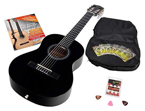 Calida Benita 1/2 Konzertgitarre Set inkl. Zubehör - Gitarre inkl. Gitarrentasche mit Schultergurt & Notenfach - Gitarrenschule mit CD & DVD, Stimmpfeife, Plektren, Ersatzsaiten - Schwarz
