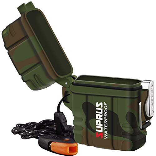 SUPRUS Waterproof Lighter Case with Survival Emergency Whistle Lanyard Perfect for Classic Lighter Inserts