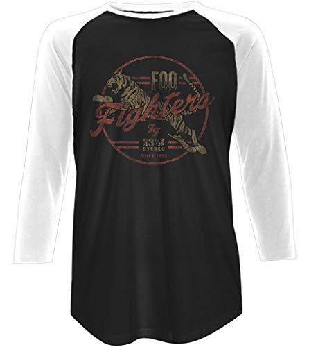 Foo Fighters 'Tiger' (2 Tone) 3/4 Length Sleeve Raglan Baseball Shirt (Large)