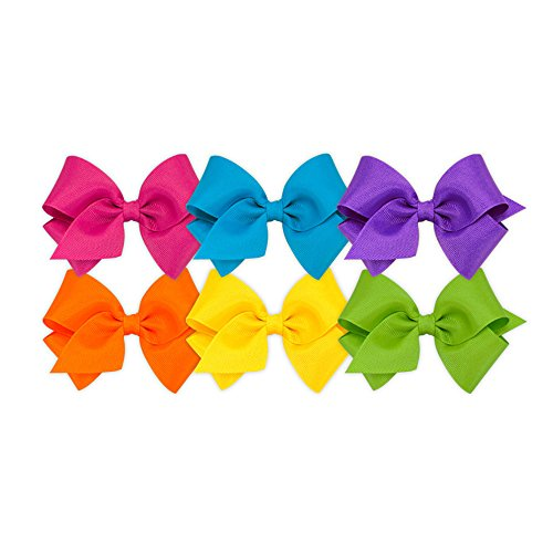 Wee Ones Girls' Small Bow 6 pc Set Solid Grosgrain Variety Pack on a WeeStay Clip - Shocking Pink, Island Blue, Delphinium, Orange, Yellow, Apple Green