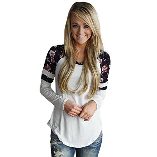 Vovotrade Femmes Tunique Retro Blouse Elegant Chemise Vintage Haut Épissure Florale Impression Tops à Manche Longue Col Rond T-Shirt Casual Sweatshirt Pullover Chic Chemisier (M, Blanc)