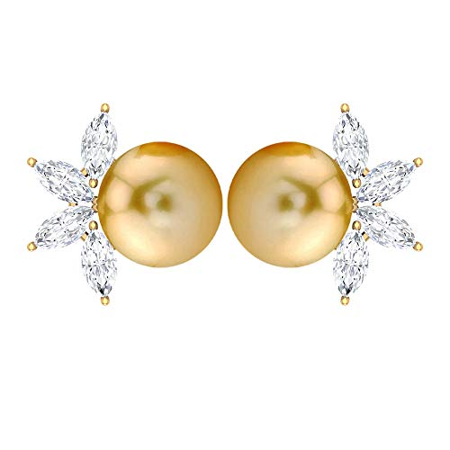 Vintage Wedding Earring, 6 CT 7 MM Solitaire South Sea Pearl Earring, HI-SI 1/2 CT Marquise Shaped Diamond Earring, Celestial Earring, 14K Yellow Gold, Pair