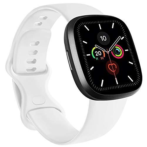 RAZAN Silicona Correa Compatible con Apple Watch 38mm 42mm 40mm 44mm,Pulseras de Repuesto de Silicona Suave para iWatch Series 6 5 4 3 2 1 SE(42mm/44mm S/M, Blanco)
