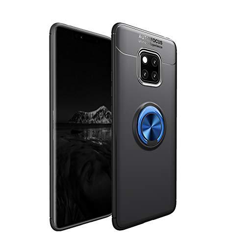 Funda Huawei Mate 20 Pro Funda Ultra Anillo Soporte 360 Grados Giratorio Ring Grip con Kickstand Gel TPU de Silicona Bumper para Huawei Mate 20 Pro (Negro Azul)