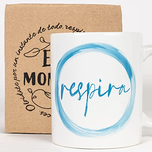 Taza Desayuno con Mensaje Respira_ Regalos Originales para Mujer_ Taza café Infusiones o Decoración Hogar en Cerámica de Gran Calidad.