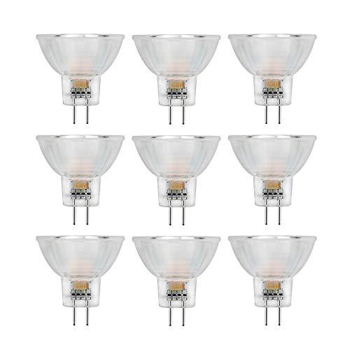 Lqdpdd Bombilla De 2W MR11 Spot, Bombilla LED De Copa De Cristal De Tamaño Mini AC/DC 12V para Iluminación De Riel De Cocina, Paquete De 9,Warm White Light