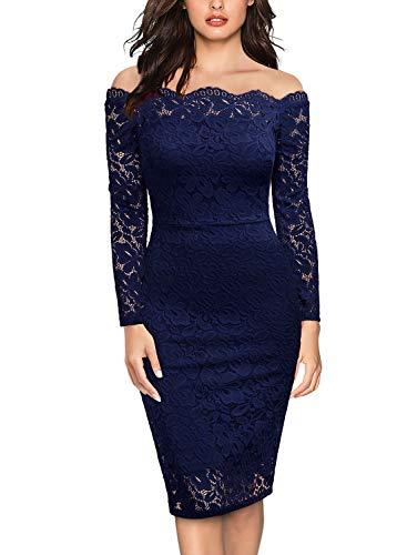 Miusol Women's Vintage Off Shoulder Flare Lace Slim Cocktail Pencil Dress (XX-Large, E-Navy Blue)