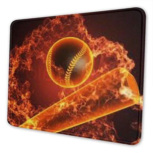 Mauspad mit genähter Kante, Fire Baseball und Baseballschläger Premium-strukturierte Mausmatte, rutschfestes Gummibasis-Mousepad für Laptop, Computer und PC