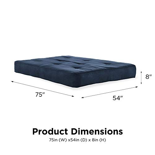 DHP 5424696 Independently Encased Coil Futon Mattress with Foam Sofa bed, 8, Cobalt