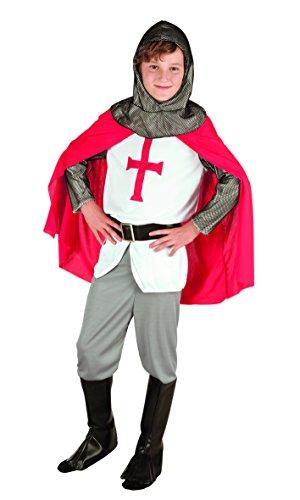 Boland- Cavaliere Crociato King Richard Costume Bambino, Rosso/Bianco/Grigio, 10-12 anni, 82132