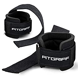 Fit Grip Straps with Wrist Guards Comfort Pull Aid for Strength Training, Fitness, Bodybuilding and Weightlifting - For Women and Men - 2 Years Warranty (Black)