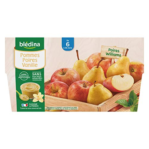 Blédina 12 Coupelles Pommes Poires Vanille dès 6 mois