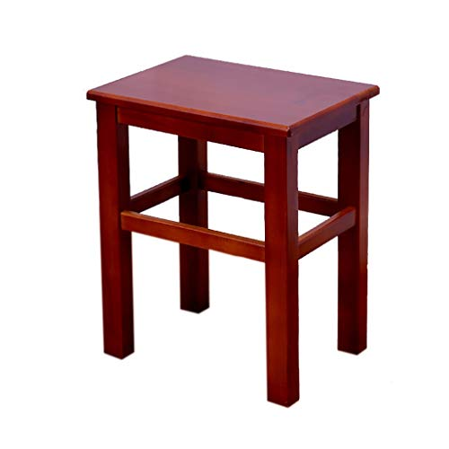WPJDZ vierkante kruk lage stoel kaptafel kruk voetenplaat met voetplaat protocol kleur bruin geschikt voor ingang, slaapkamer, woonkamer 33 x 24 x 43 cm