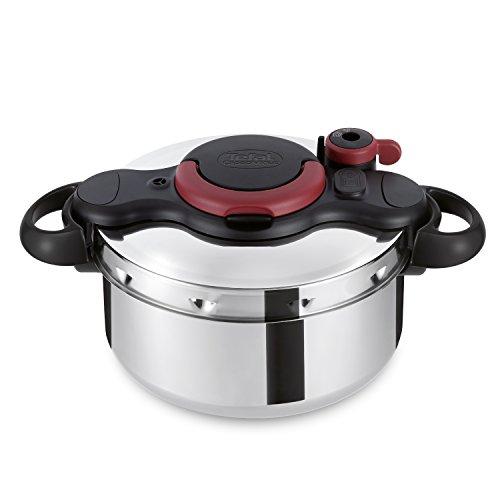 Tefal Clipso minut Easy – Marmite à pression en acier inoxydable avec 5 Systèmes de sécurité et fermeture facile avec une seule main, couleur noir 6 Litros multicolore