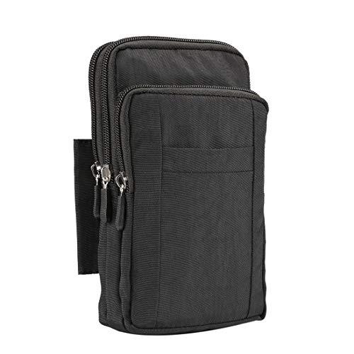 Qiuge Taille, Outdoor-Handy-Tragetasche Tasche Nylon-Crossbody-Schulter-Taille Gürtel Brieftasche Mit Karabiner, Geeignet Für Smartphones Unter 7 Zoll QiuGe (Color : Black)