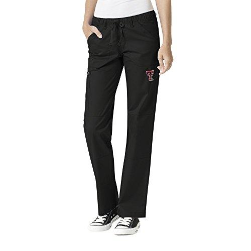 WonderWink Women's Plus Size Texas Tech University Straight Leg Cargo Pant, Black, 3X-Large