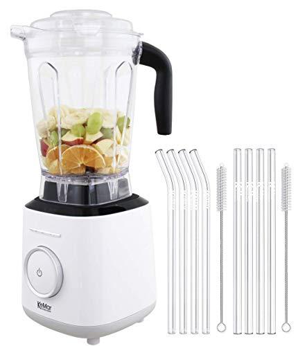 KeMar Kitchenware KSB-300W Standmixer | Hochleistungsmixer | Mixer | Touch Bedienung | 2 Liter | BPA-frei |6 Programme (Milch Weiß) SET mit 8 Glastrinkhalmen