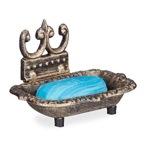 Relaxdays Jabonera, Vintage, Hierro Fundido, para Pastilla de jabón, Ornamentada, 10 x 15 x 11,5 cm, 1 Ud, Bronce, fundición, Goma