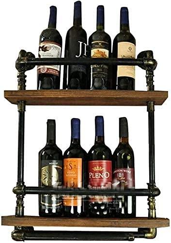 TTWUJIN Estante para vino, montado en la pared, bar, restaurante, estante para botellas de vino, soporte de pared de metal de 2 niveles para 5 botellas Pared de madera vintage independiente
