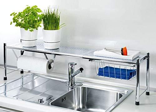 Estantería en INOX para fregadero, extensible de 66 a 108 cm con cesta para organizar y soporte para papel de cocina