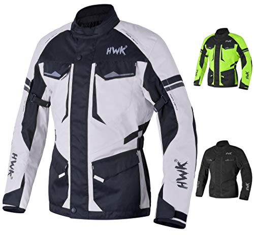 Adventure/Touring Motorcycle Jacket For Men Textile Motorbike CE Armored Waterproof Jackets ADV 4-Season (Light Grey, M)