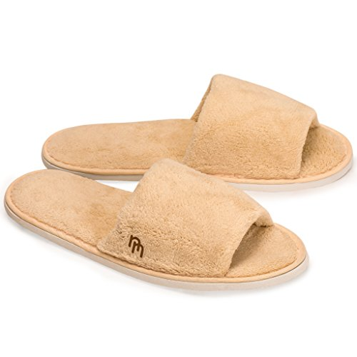 Nicely Neat 6-Pack Open Toe Coral Fleece Home, Spa, Guest and Travel Slippers - Medium (Woodland)
