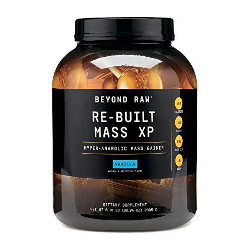 Beyond Raw Re-Built Mass XP – Vanilla, 6 lbs, Contains 880 Calories, 140g Carbohydrates and 60g Protein Per Serving