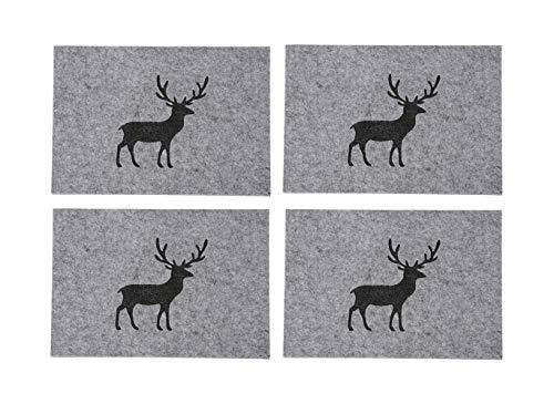 Boltze Home Collections 4er Set Tischsets Tjark, Filz grau, 45 x 35 cm (Hirsch)