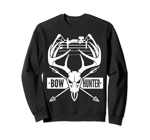 ボウハンティング ヴィンテージ 鹿の頭蓋骨とコンパウンドボウ アーチェリーギフト トレーナー