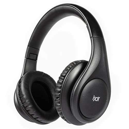 iJoy Auriculares estéreo plegables con Bluetooth 5.0, inalámbricos, con batería de 30 horas y micrófono integrado, color negro mate