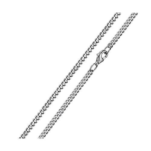 MATERIA 3mm Panzerkette Silber 925 diamantiert rhodiniert Halskette Herren Damen silber in 40-80 cm #K27, Länge Halskette:50 cm