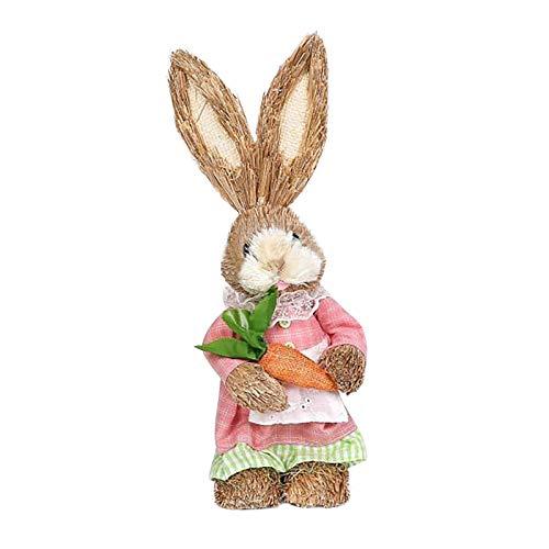 Dadaorou stehende Osterhasen Figuren mit Korb & Ostereiern braun bunt - Osterdeko Hasen als Geschenk Ostergeschenk Osternest befüllen