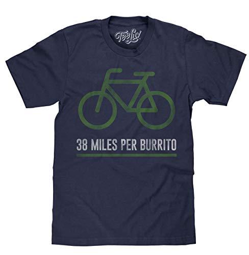 Tee Luv 38 Miles Per Burrito Bike T-Shirt - Soft Novelty Cycling T-Shirt (Navy Heather) (SM) Alabama