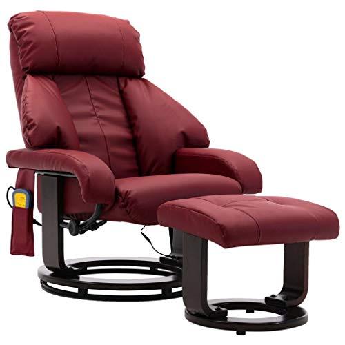 vidaXL TV Massagesessel Wärmefunktion Fernsehsessel Relaxsessel Sessel Ruhesessel Liegesessel Polstersessel Relaxliege Weinrot Kunstleder