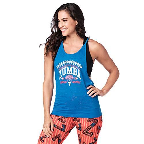 Zumba Fitness Bubble Hem Workout Tank Dance Graphic Print Sexy Tops Women, True Blue, XL