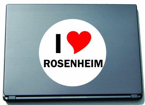 Indigos I Love Aufkleber Decal Sticker Laptopaufkleber Laptopskin 210 mm mit Stadtname ROSENHEIM
