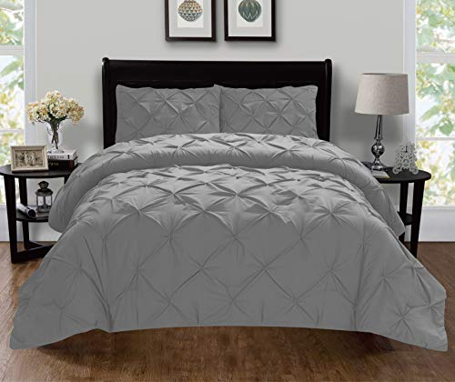 Elegant Comfort Luxury Super-Soft Coziest 1500 Thread Count Egyptian Quality 3-Piece Pintuck Design Duvet Cover Set, (Insert Comforter Protector) Wrinkle-Free, Full/Queen, Gray
