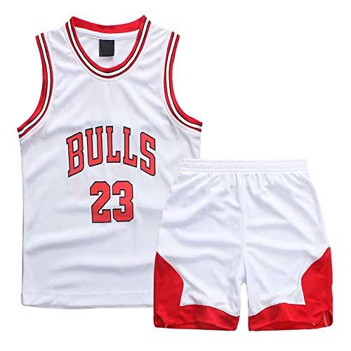 ASSD Niño Niña Jerseys del Baloncesto Set - NBA Michael Jordan Chicago Bulls # 23 Baloncesto Uniforme Camisa Chaleco del Verano Pone en Cortocircuito (Color : White, Size : XXXS)