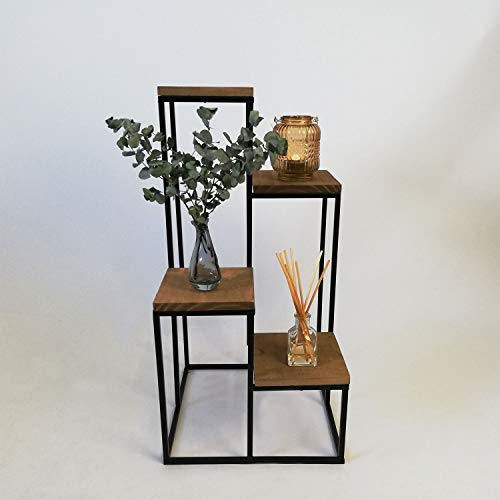 Koopmann Escalier à 4 étages pour plantes - Étagère pour balcon - Support pour fleurs - Pour intérieur - En métal et bois - Style industriel - Noir - 34 x 34 x 67 cm