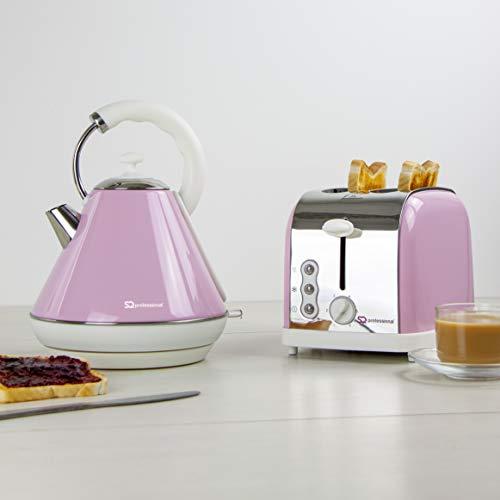SQ Professional Breakfast Set 2pc Kettle 2200W & 2 Slice Toaster 900W (Dainty Appleblossom Pink)