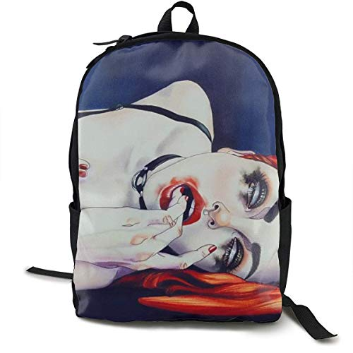 Durable Polyester Rucksacks Sexy Goth Gotik Gothic Women Girl Art Travel Hiking Backpack - Big...