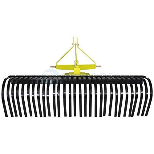 Titan Attachments 4 FT Landscape Rake for Compact Tractors, Tow-Behind Garden Tool