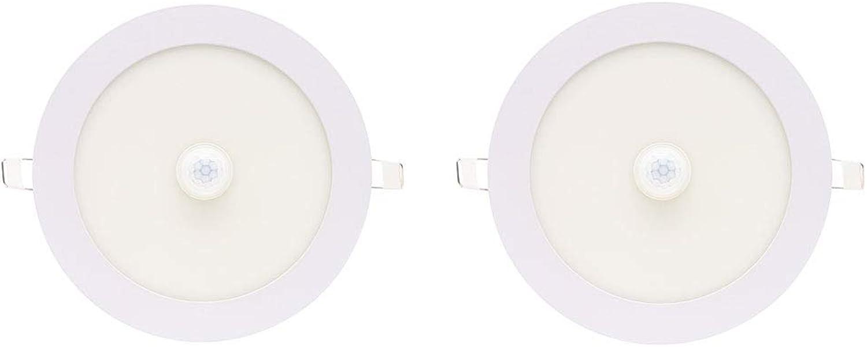 2 Pack Infrarot-Krperinduktionslampenlampe, ultraflaches rundes, verborgenes Panel-Licht, eingebettet (Farbe   Open hole 9.5cm)