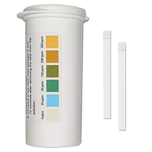 Restaurante cloro Sanitizer Tiras de prueba de plástico, 0-300 ppm [Vial de absorción de humedad de 100 tiras]