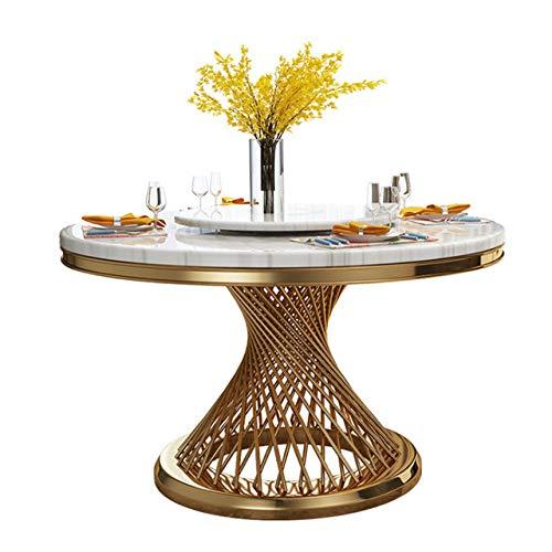 Eettafel LKU Postmoderne lichte luxe ronde marmeren eettafel Eenvoudige creatieve roestvrijstalen eettafel, 1,2 m zonder draaitafel