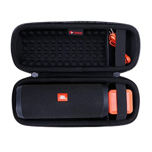 XANAD Hart Reise Tragen Tasche für JBL Flip 3 or JBL Flip 4 or JBL Flip Essential Bluetooth Wasserdichter tragbarer Lautsprecher - Schutz Hülle (Schwarz)