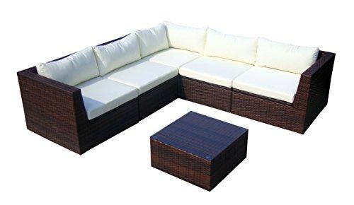 baidani Surprise Salon de Jardin Design en polyrotin : canapé et Table Basse avec Plateau en Verre Marron - Référence d'Article : 10c00022.00002