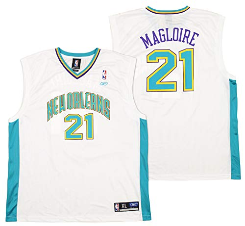 NWT Jamaal Magloire #21 New Orleans Hornets Reebok Replica Mens Home Jersey XL