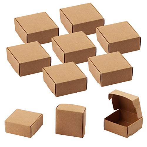Sdootjewelry Small Gift Boxes, 100 Pcs Square Gift Boxes Brown Kraft Paper Box Decorative Treat Boxes Gift Packaging Boxes, Favor Treat Boxes - 2.16 x 2.16 x 0.98'