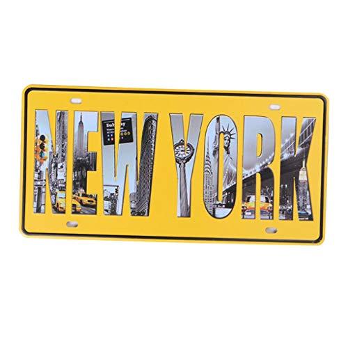 HomeDecTime Panneau à Suspendre Plaque de Sign en Fer Décoration de Mariage Rétro - New York